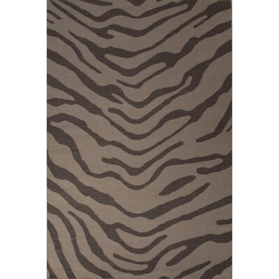 National Geographic Home Wool Flat Weave Dark Gray Tiger Area Rug by Jaipur Rugs