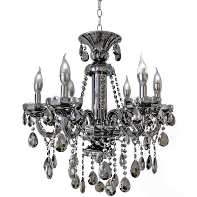 6 Light Smoke Grey Crystal Candelabra Chandelier by LightUpMyHome