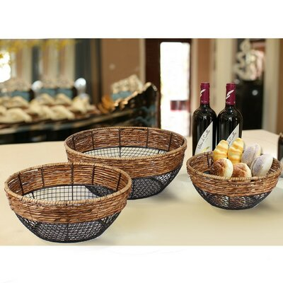 3 Piece Iron Wire Round Wide-Mouth Basket with Mesh Body by AdecoTrading