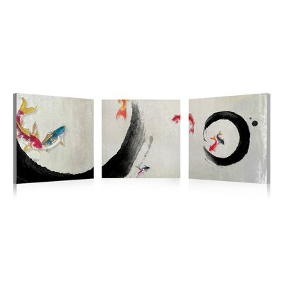 Fish Dream 3 Piece Print of Painting on Wrapped Canvas Set by Elementem Photography