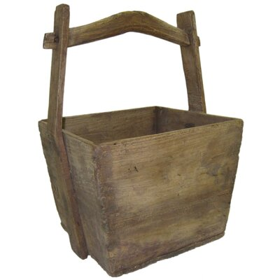 Vintage Wooden Elm Bucket by Asian Loft