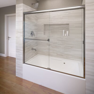 "Classic 56"" x 56"" Frameless Bypass Sliding Tub Door Product Photo"