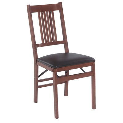 Stakmore Company, Inc. True Mission Wood Folding Chair with Vinyl Seat