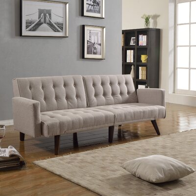 Mid Century Tufted Linen Sleeper Convertible Sofa by Madison Home USA