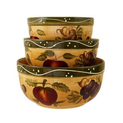 Tuscany Mixed Fruit 3 Piece Mixing Bowl Set by A.C.K. Trading Co.
