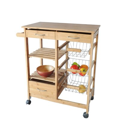 Kitchen Cart Bamboo Wood Storage Island Rolling Portable