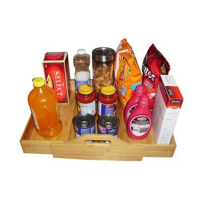 Natural Wood Expandable Kitchen Closet Floor Shelf on Wheels by JA Marketing