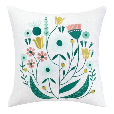 Whimsy Embroidered Throw Pillow by Elizabeth Olwen