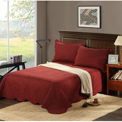 Autumn Marsala Bedspread Set by Tache Home Fashion