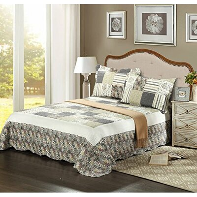 Plaid Morning Flower Galore Bedspread Set by Tache Home Fashion
