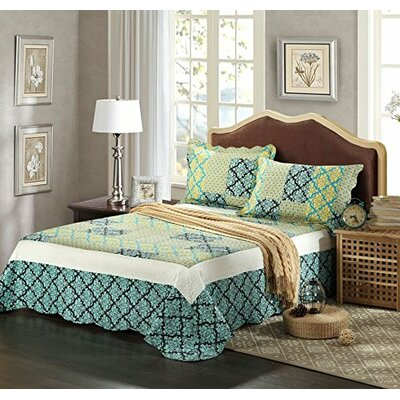 Fall Damask Reversible Bedspread Set by Tache Home Fashion