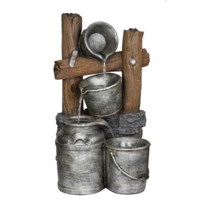 Pewter Metal Silver Buckets on a Fence Fountain by Beckett