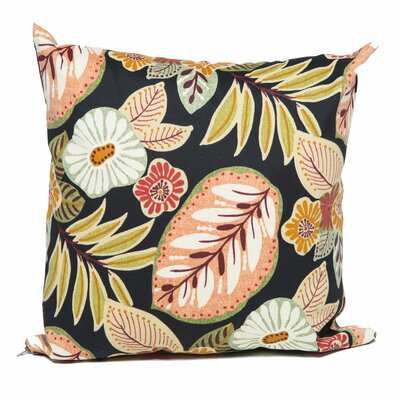 Black Tropical Floral Outdoor Throw Pillow by TK Classics