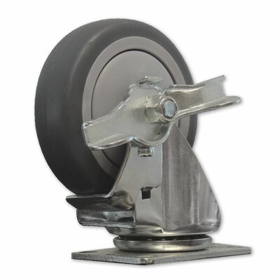 TPR Solid Wheel Swivel Caster with Brake by Snap-Loc
