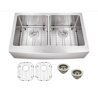 """33"""" x 20"""" Stainless Steel 18 Gauge Apron Front 50/50 Kitchen Sink Product Photo"""