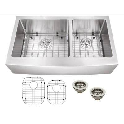 """35.87"""" x 21.25"""" Stainless Steel 16 Gauge Apron Front 60/40 Double Bowl Kitchen Sink Product Photo"""