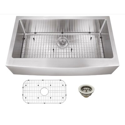 "36"" x 20"" Stainless Steel 16 Gauge Apron Front Single Bowl Kitchen Sink Product Photo"