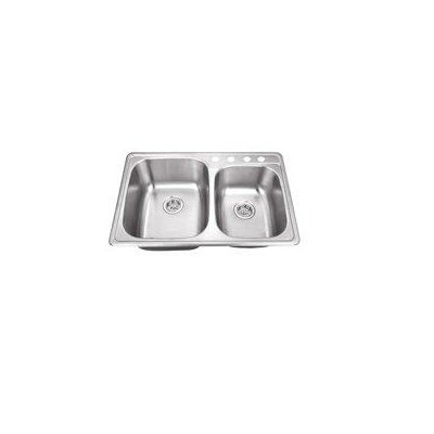 "33"" x 22"" Stainless Steel Drop In Double Bowl Kitchen Sink Product Photo"
