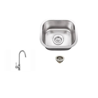 "14.5"" x 13"" 18 Gauge Stainless Steel Single Bowl Bar Sink Product Photo"