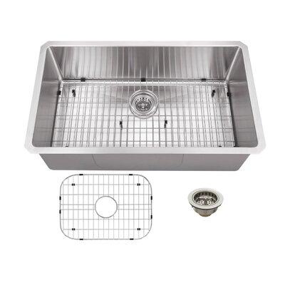 "32"" x 19"" Stainless Steel 16 Gauge Radius Single Bowl Kitchen Sink Product Photo"