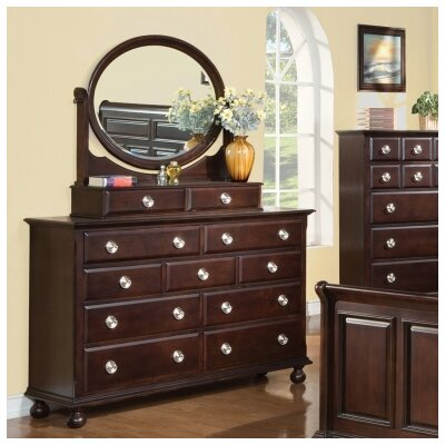 Brooke 11 Drawer Dresser with Mirror by Meridian Furniture USA