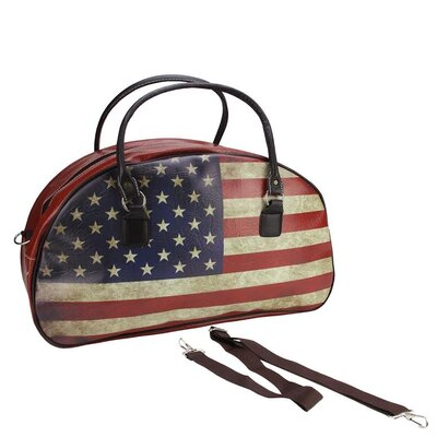 Vintage American Flag Travel Bag with Handles and Shoulder Strap by NorthlightSeasonal