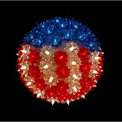Patriotic U.S Flag Lighted Hanging Starlight Sphere Ball Decoration by NorthlightSeasonal