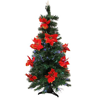 4' Artificial Christmas Tree with Red Multi Light Poinsettias by NorthlightSeasonal