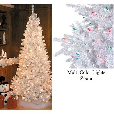 7.5' White Slim Siberian Fir Artificial Christmas Tree with Multi Light by NorthlightSeasonal