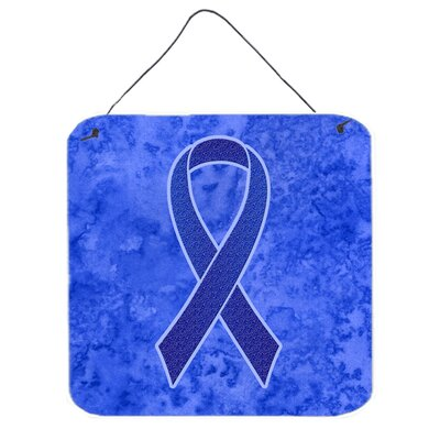 Dark Blue Ribbon For Colon Cancer Awareness Hanging Graphic Art Plaque by Caroline's Treasures