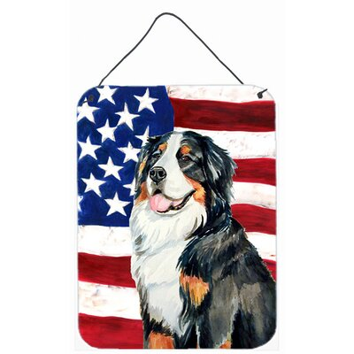 Usa American Flag with Bernese Mountain Dog Hanging Painting Print Plaque by Caroline's Treasures