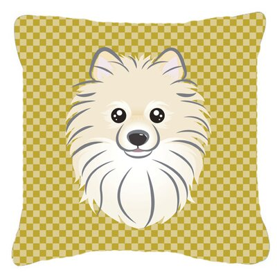 Tan Checkered Pomeranian Indoor/Outdoor Throw Pillow by Caroline's Treasures