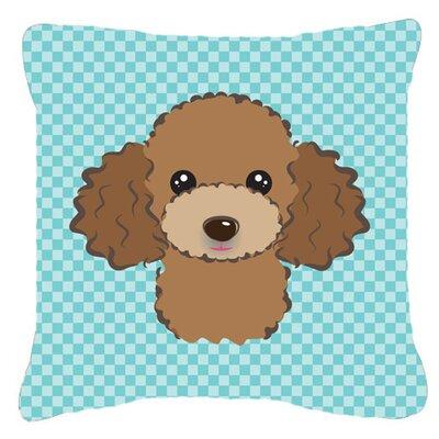 Checkerboard Chocolate Brown Poodle Indoor/Outdoor Throw Pillow by Caroline's Treasures
