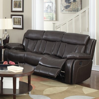Power Leather Reclining Sofa by Darby Home Co