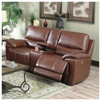 Console Top Leather Reclining Loveseat by Darby Home Co