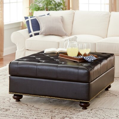 Bonded Upholstered Leather Ottoman by Alcott Hill