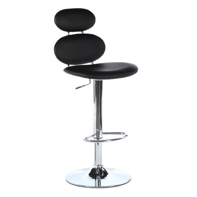 Leigh Woods Adjustable Height Swivel Bar Stool with Cushion by Wade Logan