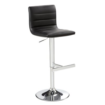 Percy Adjustable Height Swivel Bar Stool with Cushion by Wade Logan