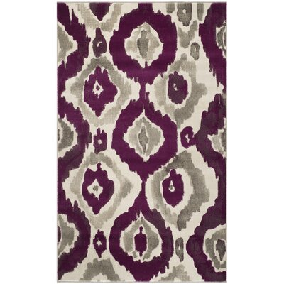 Porcello Ivory/Purple Area Rug by Langley Street