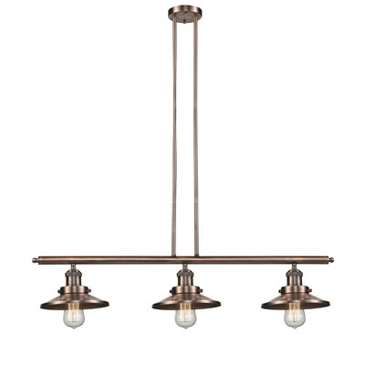 Railroad Shade 3 Light Kitchen Island Pendant Product Photo