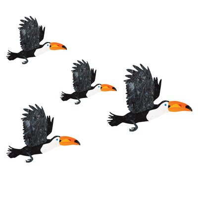 4 Piece Flying Toucan Bird Wall Decal Set by My Wonderful Walls