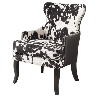 Faux Cowhide Accent Chair With Stud Detail by !nspire