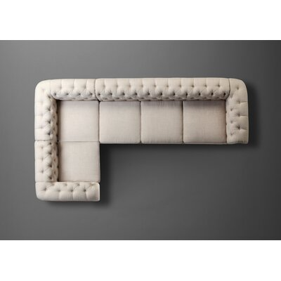 Garcia Beige High Rolled Arms Sectional Sofa by Mulhouse Furniture
