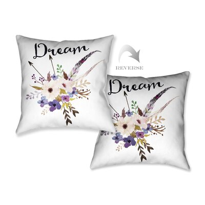 Watercolor Flowers and Dream Throw Pillow by LauralHome