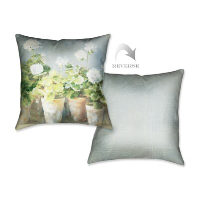 White Geraniums Throw Pillow by LauralHome