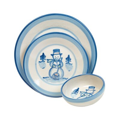 Snowman 3 Piece Dinnerware Set by HadleyHouseCo