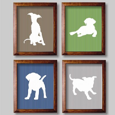4 Piece Playful Puppies for Boys Paper Print Set by Rocket Bug