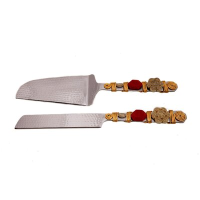 2 Piece Handcrafted Cake Knife and Server Set by Filigree