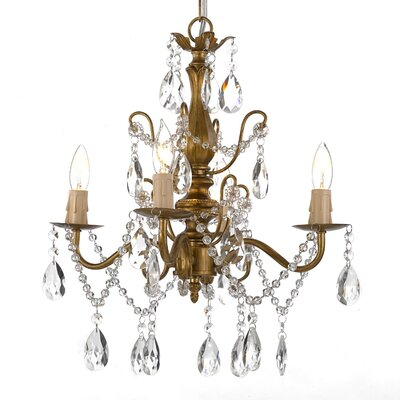 Wrought Iron and Crystal 4 Light Crystal Chandelier Product Photo