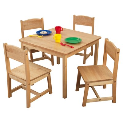Kidkraft Farmhouse Table and 4 Chairs set Natural Espresso Pecan